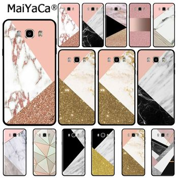 Fashion Geometric Splice Marble gold pink marble stone phone case for samsungj7 2017 j6 j2pro note5 note8 note9 s9case coque image