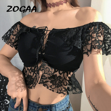 Sexy Spaghetti Lace-up Puff Sleeve Women Lace Top Hollow Out Crop Strapless Shoulder Summer 2019 V-neck Blouse Shirt
