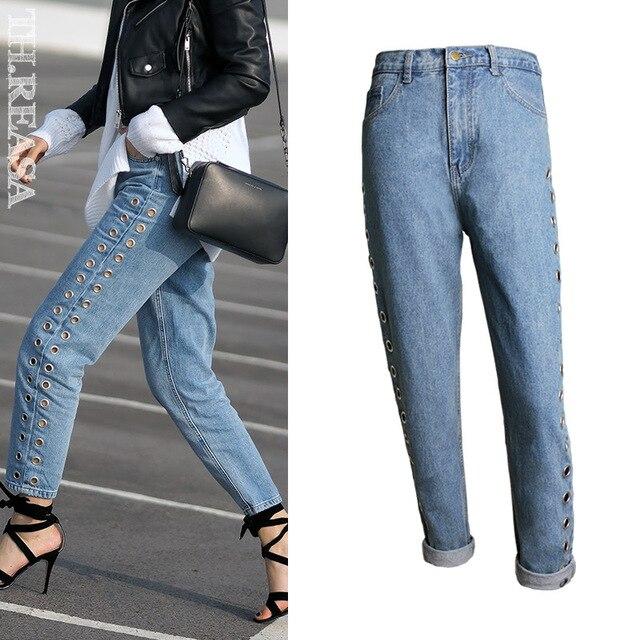 a54c3b7f5826 2017 NEW Loose Boyfriend Style High Etreet Jeans Women Fashion Corn High  Waist Blue Sequined Rivet Hollow Straight Denim Pants