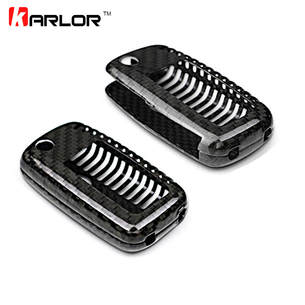 2017 New 100% Genuine Carbon Fiber Car Auto Remote Flip Key fob Holder Case Cover Shell For VW Volkswagen Seat Skoda Car Styling nulla genuine carbon fiber car auto remote key shell fob holder case cover for mercedes benz w203 w211 car styling car sticker