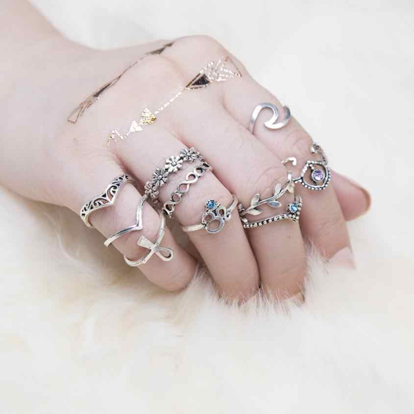 Bling-World Fashion Women 10pcs/Set Women Bohemian Vintage Silver Stack Above Knuckle Blue Rings Set Delicate Jewelry Gift Oct30