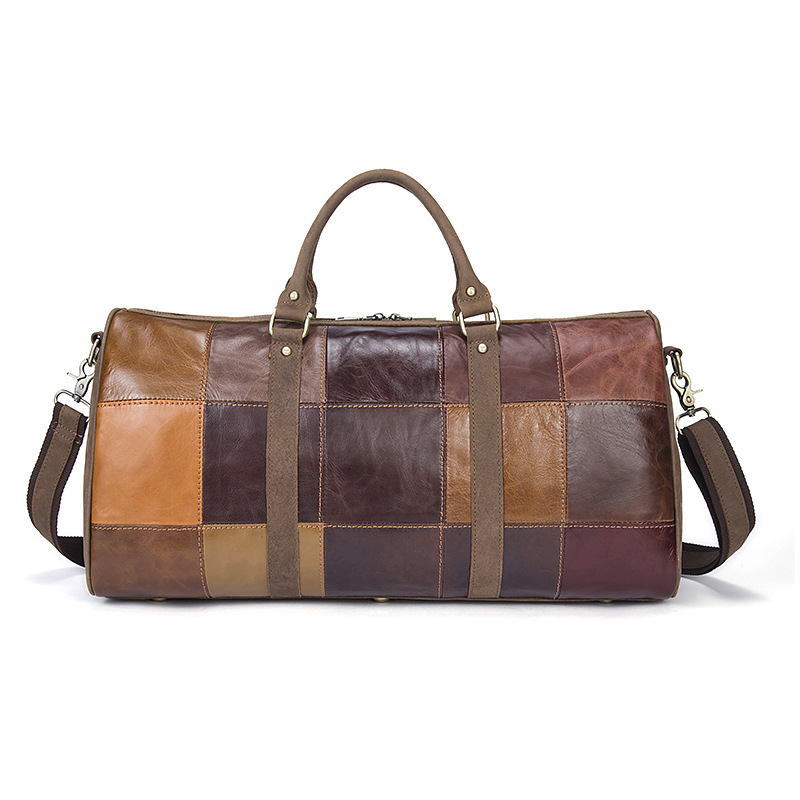 Cowhide Large Capacity Travel Bag Leisure Checkered Business Luggage Bag Wear Leather  Bag Men Business Package polo new golf bag men s clothing package pu clothing bag large capacity light travel bag