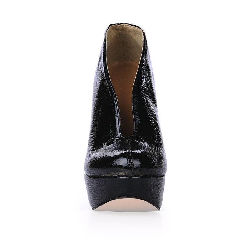 Negro Ultra Tacón 43 Batzuzhi Plataforma Mujer Zapatos Botines Mujer Tamaño Alto Botas Cm Cortas 14 Charol 35 De xWzgqSIwzU