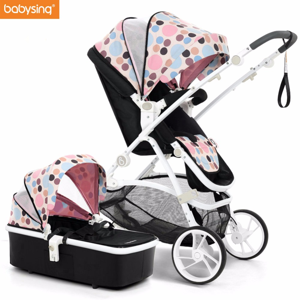 Babysing Baby Stroller 2 in 1 Pushchair With Sleeping Basket High Landscape Pram Portable Foldable baby Carriage Strollers 2017 special offer poussette baby strollers aiqi stroller portable foldable high landscape suspension umbrella pram pushchair