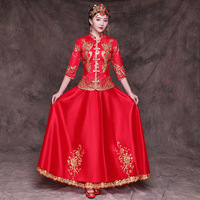 Chinese Ancient Wedding Bride Dress Marriage Suit Red Floral Women Elegant Qipao Traditionl Oriental Cheongsam Toast Clothing