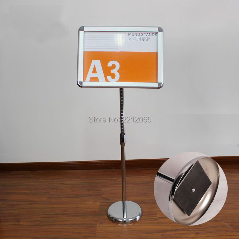 Drawing Board A4 Floor Poster Stand Metal Pedestal Sign Display Holder Floor Banner Stand With Clear Acrylic Photo Frames Hotel Signage Rack