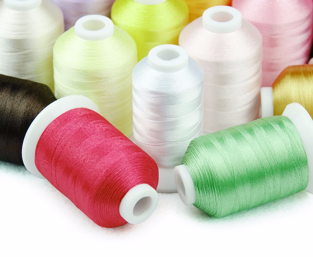 Popular 23 Brother color machine embroidery thread 1000m/cone + 1 white bobbin fill thread for home embroidery machines
