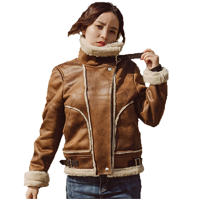 KULAZOPPER Faux Shearling Sheepskin Coat Women Thick   Suede   Jackets Female Autumn Winter Short Brown   Suede   Motorcycle Coats KW045