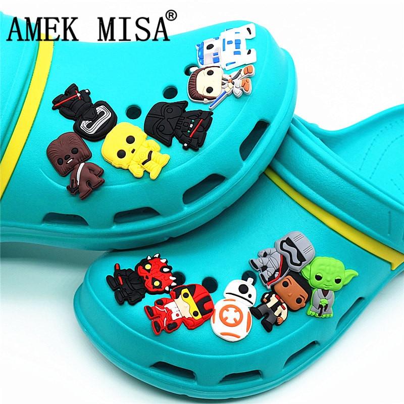 Novelty 12 Pcs A Set Shoe Decorations Star Wars Style PVC Garden Shoe Charm Accessories Fit Bands/Croc/JIBZ/Kids Gift 2D-XJ12