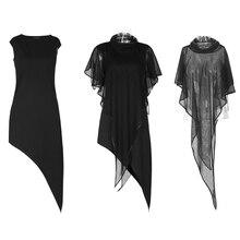 Панк рейв Для женщин; Модный комплект из двух предметов пикантные Клубные вечерние летнее платье без рукавов платье-накидка с героями мультфильма «в стиле стимпанк Уличная обувь; Повседневное платья