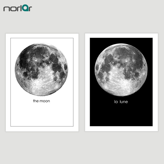 Minimalism Black And White Moon Wall Decor Art Canvas Painting Pictures For Living Room