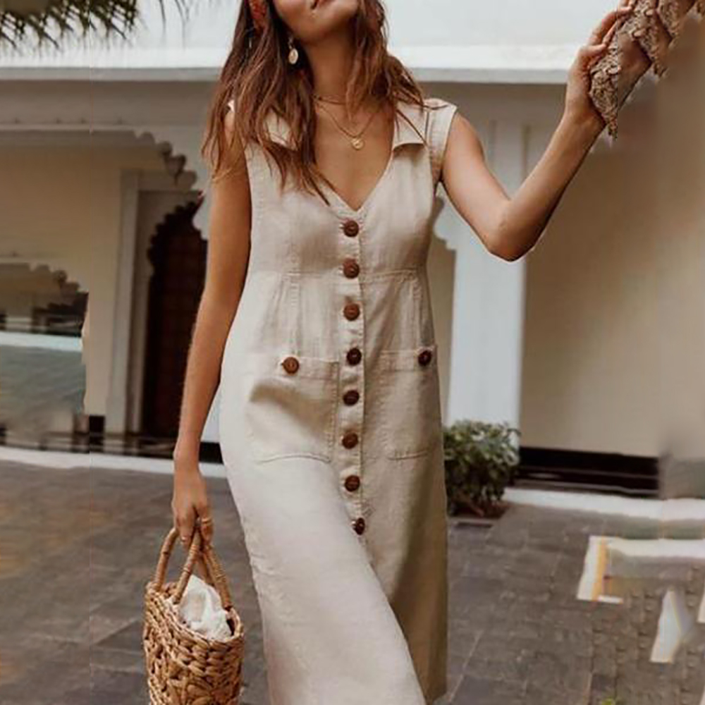CALOFE 2020 Summer Button Boho Style Dress V-Neck Waist Plus Size Casual Solid Color Sleeveless V Neck Pockets Midi Dress