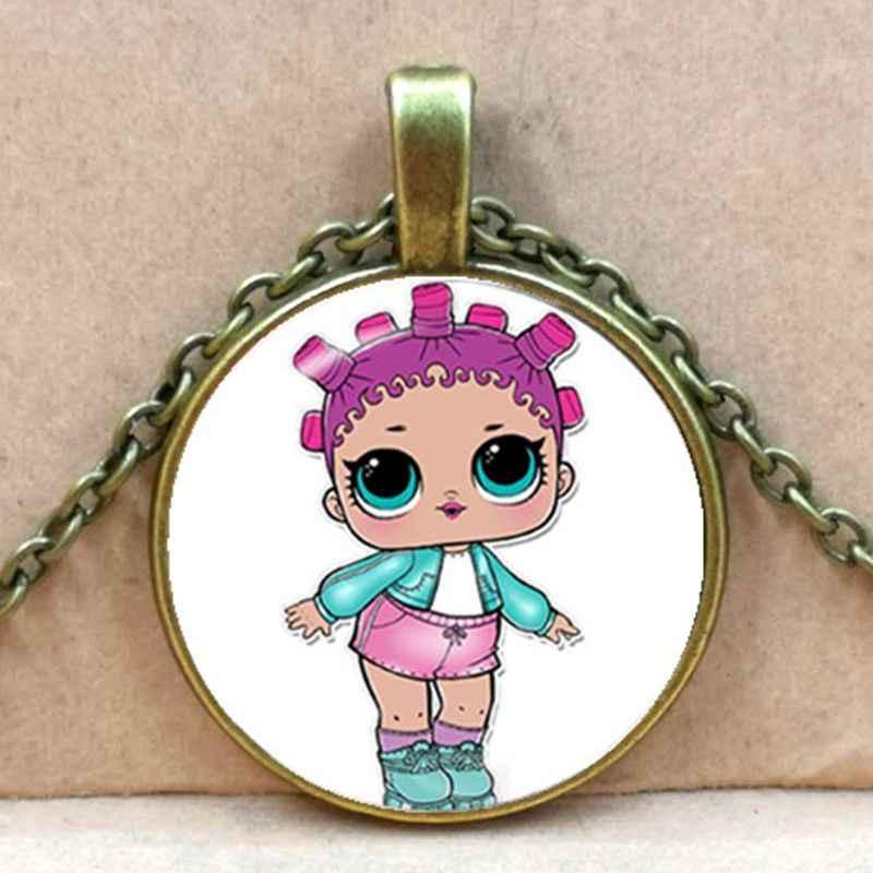 Dessin animé poupées collier mignon bébé paillettes princesse robe poupées verre colliers Anime pour enfant cadeau d'anniversaire