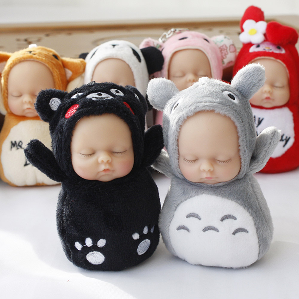 Cute Closed Baby Doll Soft Animal Plush Toy key Pendant Mini Toys for Kids Keychain Wedding Bouquet Gift Toy rabbit plush keychain cute simulation rabbit animal fur doll plush toy kids birthday gift doll keychain bag decorations stuffed