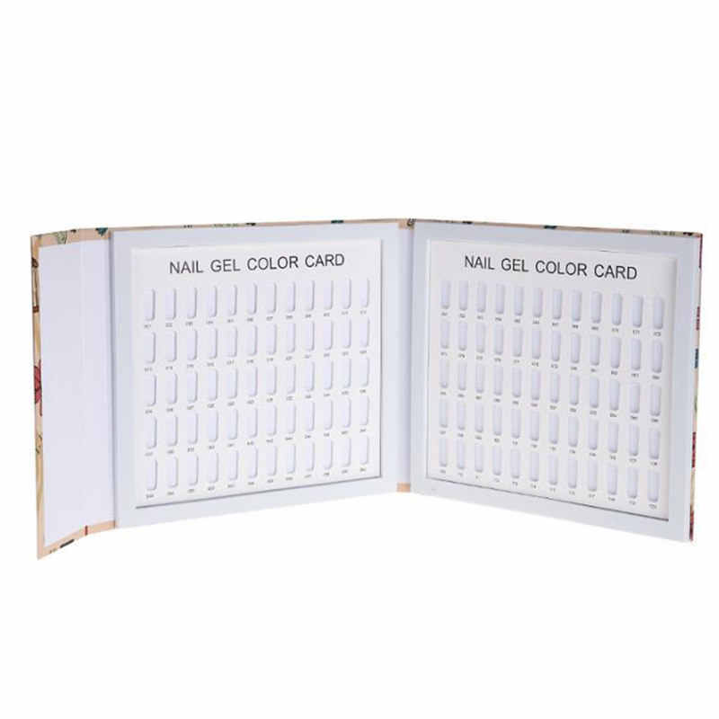 120 Colors Nail Gel Polish Display Card Book Color Board Palette Stand with 120pcs Nail Tips Salon Show Tools