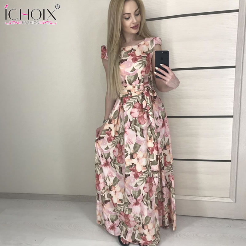 7d674aa5ac1a7 US $16.98 40% OFF|2019 Summer Women Long Dress Vintage Evening Party Floral  Print Maxi Dresses Boho Elegant Floor length Dress vestidos-in Dresses ...