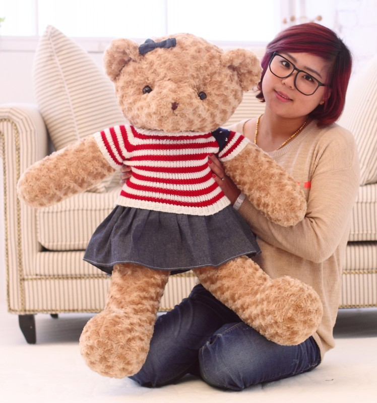 cartoon bear stuffed toy large 100cm dressed skirt teddy bear plush toy soft toy throw pillow Christmas gift h0900 stuffed animal largest 200cm light brown teddy bear plush toy soft doll throw pillow gift w1676