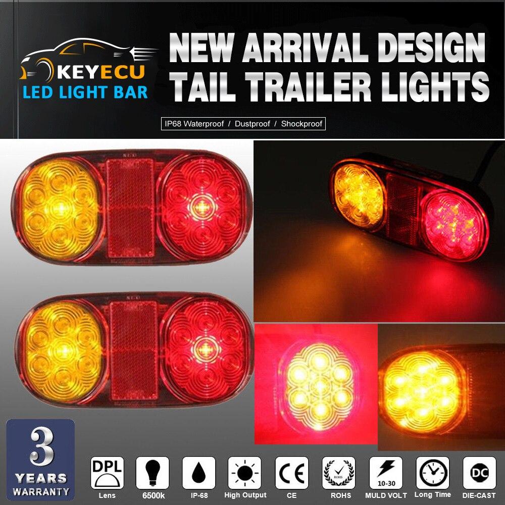 KEYECU PAIR 14 Led Tail Trailer Lights for Truck Boat Ute
