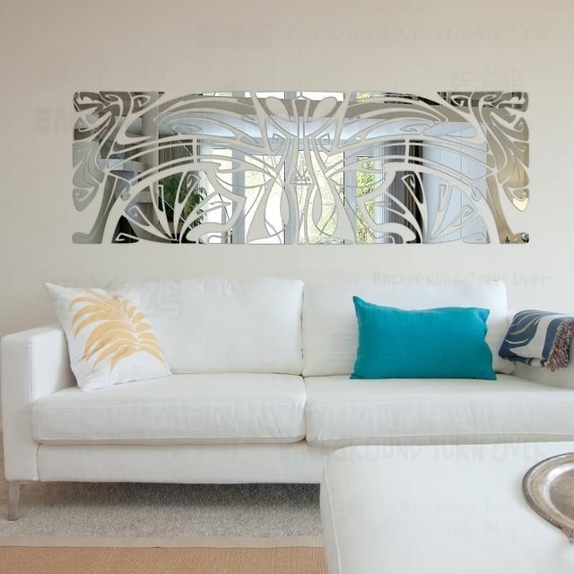 diy decoratieve totem 3d spiegel muurstickers grote muur spiegel woonkamer slaapkamer muur decor huis decoratie thuis