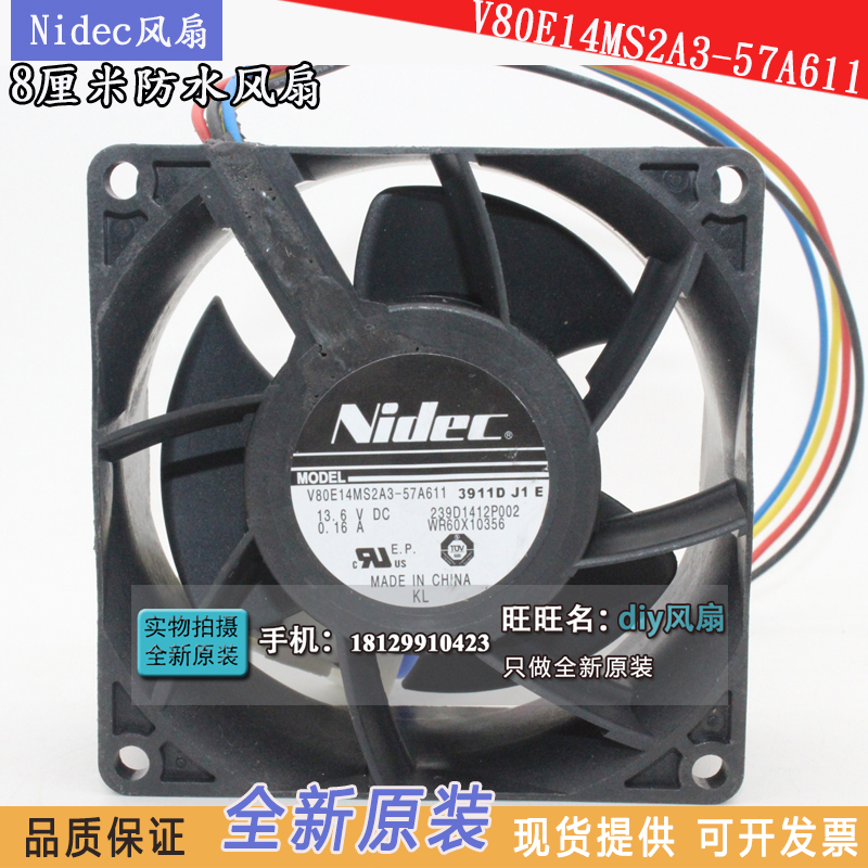WR60X10356 cooling fan Nidec V80E14MS2A3-57A611 13.6V 8038 waterproof cooler original nidec alpha v ta300 a30479 10 230v 8038 cabinet radiator fan