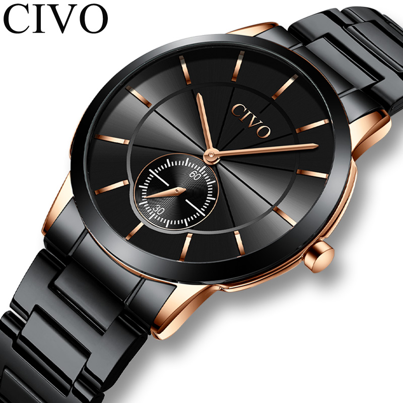 Reloj CIVO quartz watches mens fashion sport dial waterproof wirst watches top brand luxury steel strap man watches montre homme