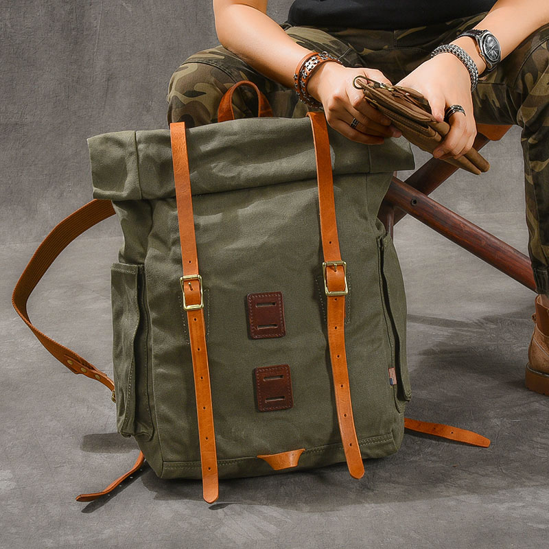 Large capacity expand pure copper oil wax canvas travel backpack Retro casual waterproof outdoor mountaineering backpack