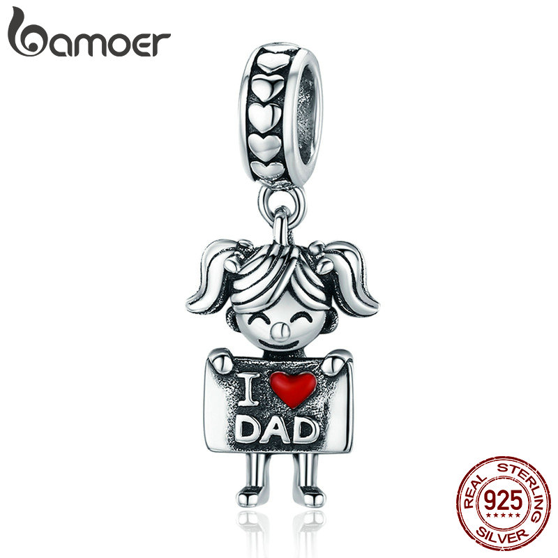 BAMOER Authentic 925 Sterling Silver I Love Dad Mom Lovely Girl Boy Charm Pendant fit Charm Bracelet & Necklaces Jewelry SCC690BAMOER Authentic 925 Sterling Silver I Love Dad Mom Lovely Girl Boy Charm Pendant fit Charm Bracelet & Necklaces Jewelry SCC690