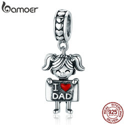 BAMOER Authentic 925 Sterling Silver I Love Dad Mom Lovely Girl Boy Charm Pendant fit Charm Bracelet & Necklaces Jewelry SCC690