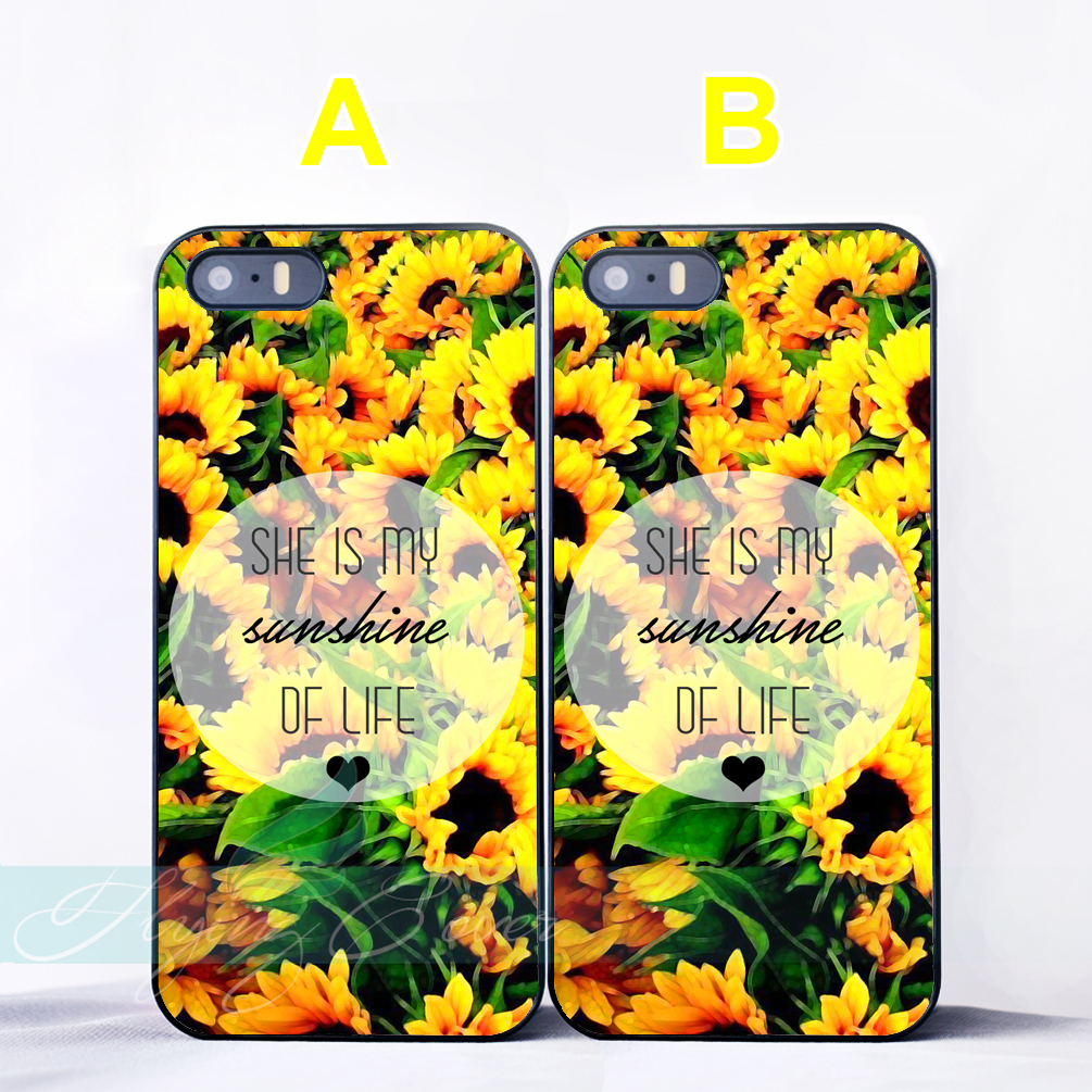 Coque Sunflower Best Friend BFF Couple Capa Cases for iPhone X 8 8Plus 7 6 6S Plus SE 5S 5C 5 4S 4 Case for iPod Touch 6 5 Cover