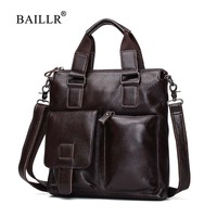 BAILLR Brand Genuine Leather Men Handbag Men S Luxury Design Cross Body Bag Men Business Briefcase