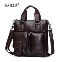 BAILLR Brand Genuine Leather Men Handbag Men S Luxury Design Cross Body Bag Men Business Briefcase