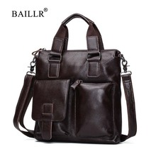 BAILLR Brand Genuine Leather Men Handbag Men's Luxury design Cross body bag Men Business briefcase High quality Cowhide leather men s leather cross style square zipper handbag cowhide men s business package solid color large capacity briefcase