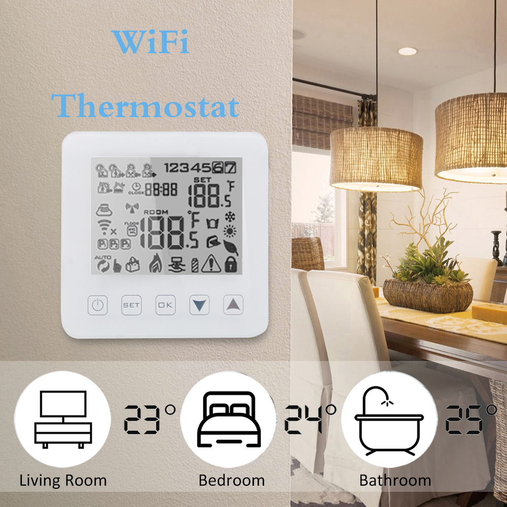 Alexa Thermostat Smart WiFi Thermostat For Water/Gas Boiler Heating Floor Touchscreen Room Temperature Controller Programmable