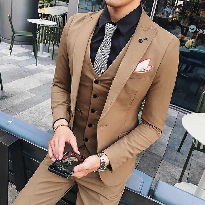 5f78dc2714f2 ... 3 шт. мужской костюм новый корейский Slim Fit повседневные деловые костюмы  мужские s Высокое качество ...