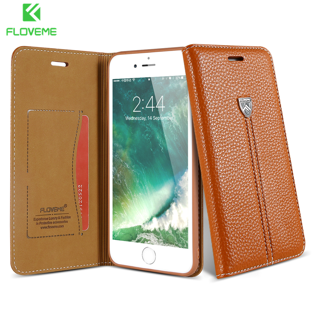 FLOVEME Luxury Leather Case For iPhone 8 8 Plus Magnetic Flip Case Card Slot Wallet Cover Bag For iPhone 6 6S Plus Coque Fundas