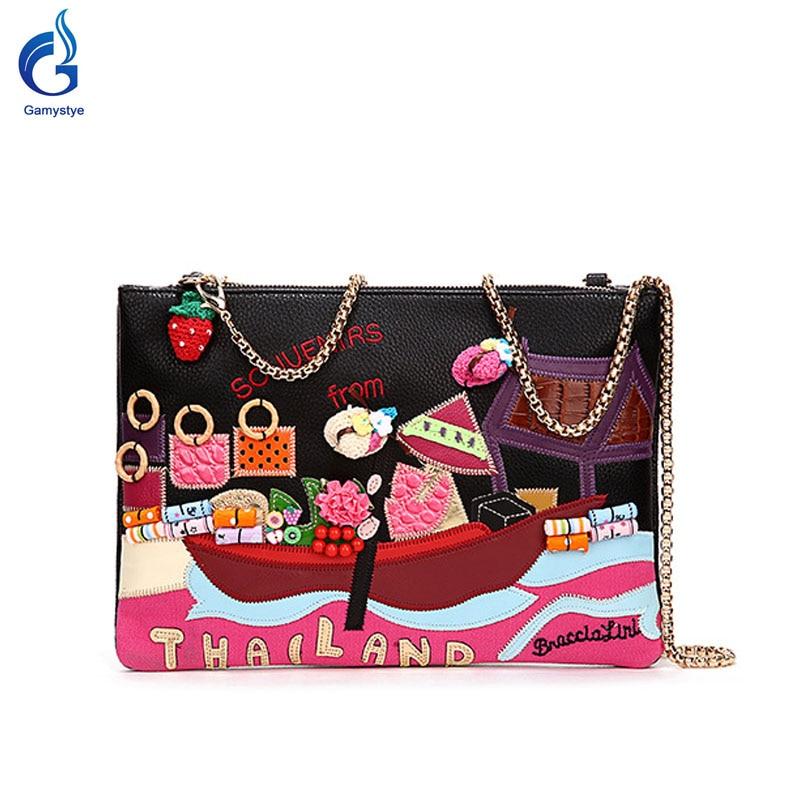 ФОТО 2016 new Rivets diamond REAL Leather Messenger shoulder bags Handbags Thailand clutch bags Famous Brand women ship Designer Bags