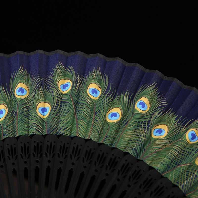 Peacock Lipat Fan Cina Lipat untuk Wanita Tangan Fan Festival Hadiah Kerajinan Lipat Menari Dekorasi Kerajinan Dekorasi Rumah