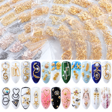 1 Bag Star Month Hollow Gold and Silver Nail Art Metal Shell 3D Decoration Studs Rhinestones Design