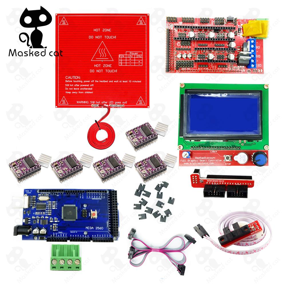 3D Printer Kit MK2B Heated Bed +Mega 2560 R3+RAMPS 1.4 + LCD 12864 + 6x Optical Switch Endstop + 5x DRV8825 Stepper Motor driver professional 3d printer kit mks gen 1 4 control board lcd 12864 6x limit switch 5x 4988 stepper driver high