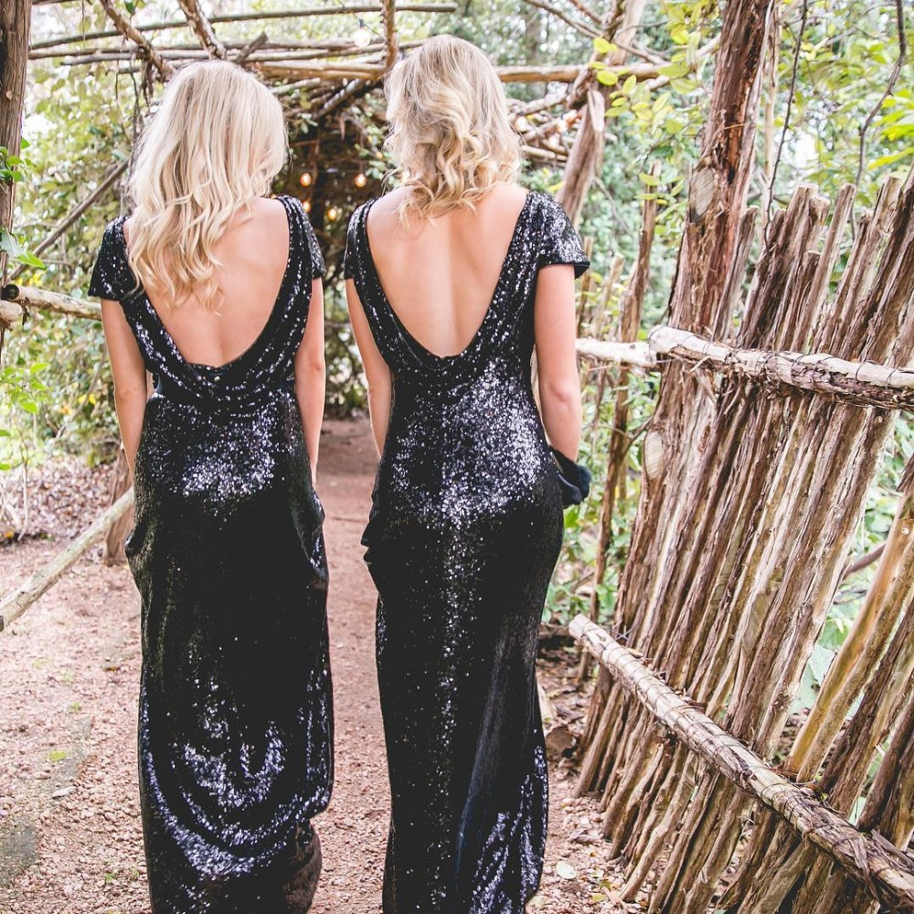 Robe Demoiselle D'honneur Sexy Backless Mermaid Sequin Reflective Bridemaid Dresses Short Sleeves Black Prom Dresses Party Gowns