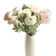 New Fashion Artificial Tea Rose Flowers 2 heads 6 Colors Silk Flower garland wedding flowers & wreaths