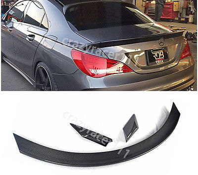 W117 3Pcs Carbon Fiber Trunk Lip <font><b>Spoiler</b></font> Wing for Mercedes Benz W117 C117 <font><b>CLA250</b></font> CLA260 CLA45 Sedan 2013-2016 image