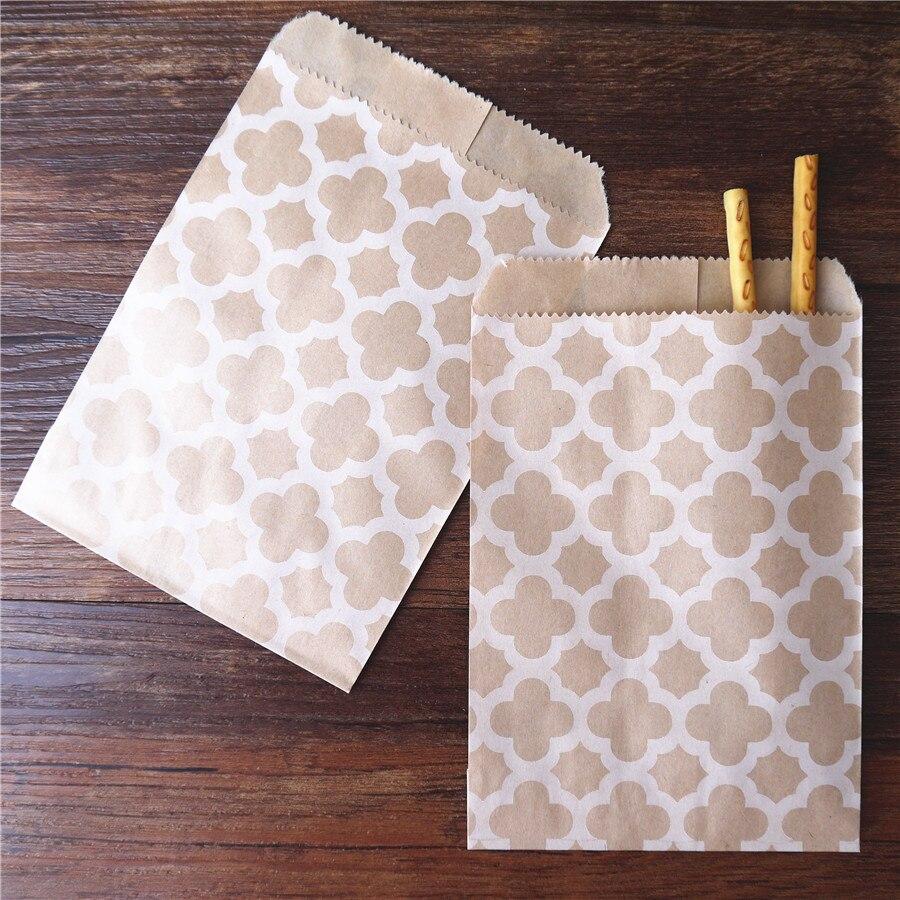 15CM*10CM 100 Pcs Craft Kraft Paper Bag For Guests Gift Flower Honeycomb Baby Shower Decoration Disposable Popcorn Candy Bag