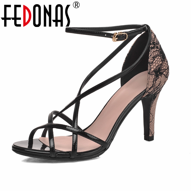 FEDONAS Women Gladiators Thin High Heels Sandals Sexy Peep Toe Summer Wedding Party Shoes Euro Size 34-43 zorssar brand 2017 high quality sexy summer womens sandals peep toe high heels ladies wedding party shoes plus size 34 43