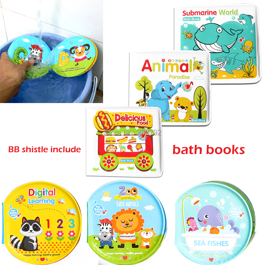 Baby Toys water Bath Books, Swimming Bathroom Toy Kids Early Learning Animal,Food Waterproof Books Educational Toys For Babies newborn baby bath toy cute cartoon animal water thermometer duck bear pig crocodile cow kids temperature tester bathroom toys