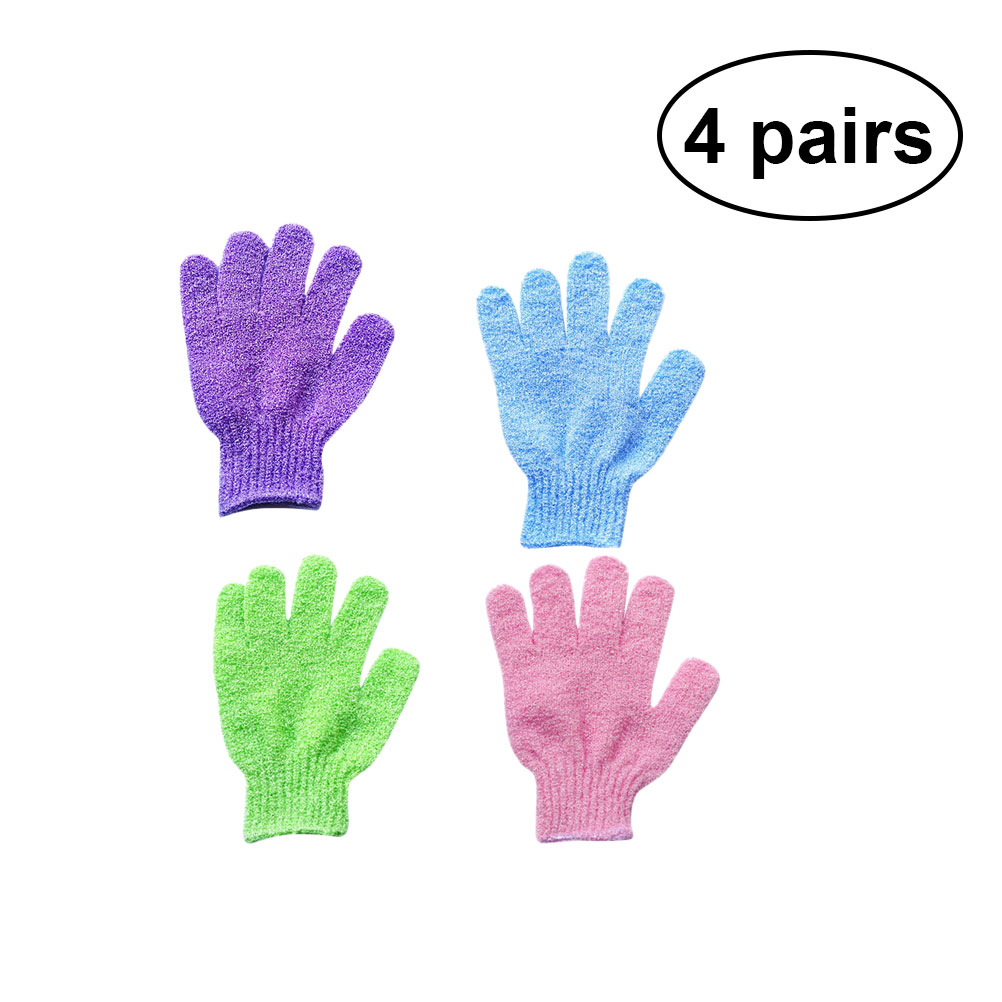 4 Pairs Bath Exfoliating Gloves Five Fingers Unisex Assorted Color Shower Gloves Dead Skin Remover Scrub Gloves Bdoy Scrubber