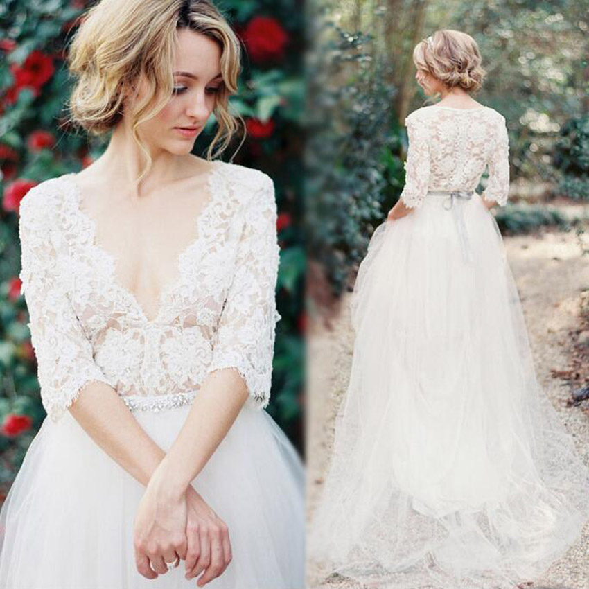 Luxury Sexy Design Vintage Lace Long Sleeve Wedding Dress