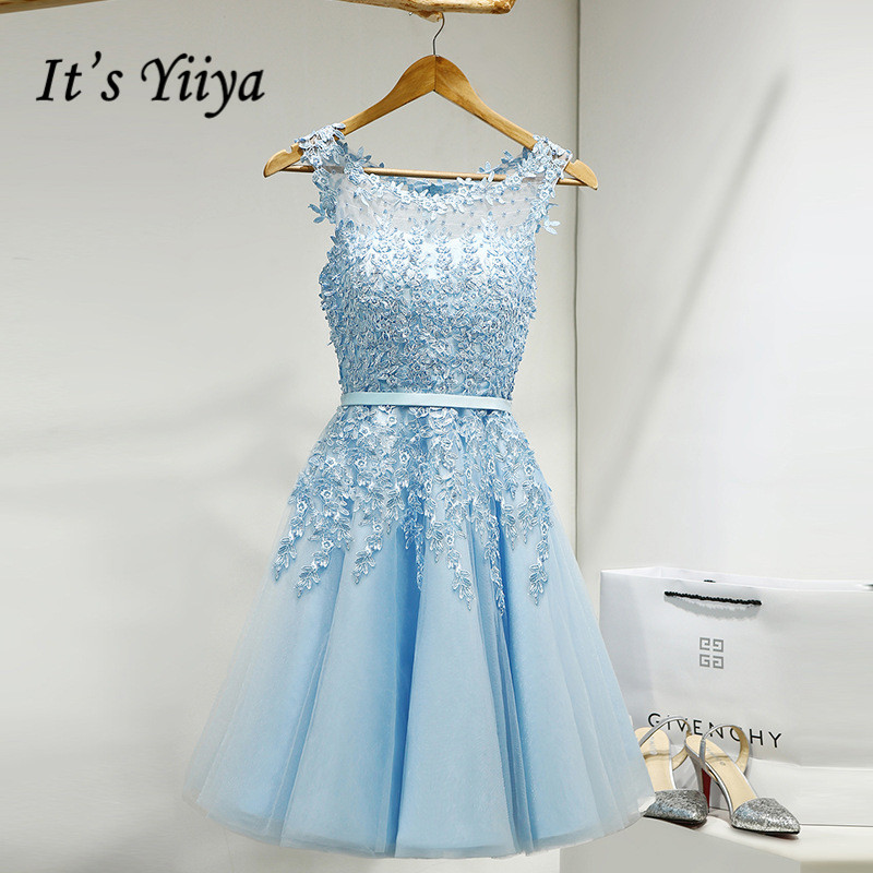 It's YiiYa   Prom     Dress   Embroidery Beading Illusion Short Wedding Formal   Dresses   Appliques Flowers Knee Length Party Gown LX073-1