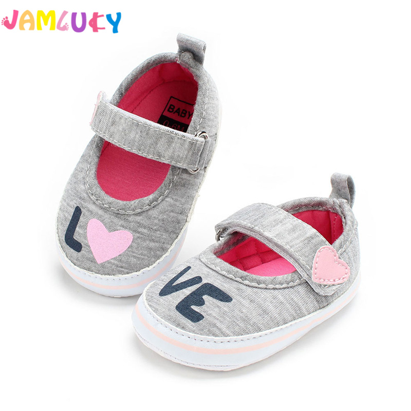 Autumn Baby Shoes Shallow Cotton Footwear New Print LOVE Princess Infant Shoes With Soft Soles For Baby Girls Newborn Shoes