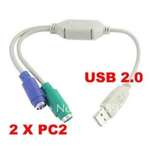 Free shipping 100% NEW USB to PS2 PS/2 Cable Adapter Converter keyboard/Mouse plug drop shipping